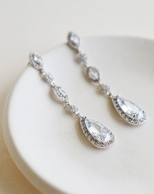 Dareth Colburn Amelia CZ Dangle Earrings (JE-4178) Wedding Earrings photo