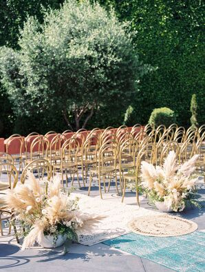 Romantic Gold Ceremony Chairs and Aisle Decorations with Grasses