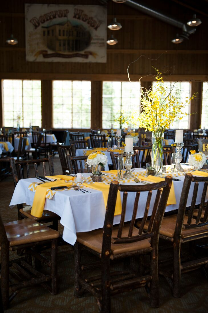 Tall Yellow Flower and Branch Centerpieces