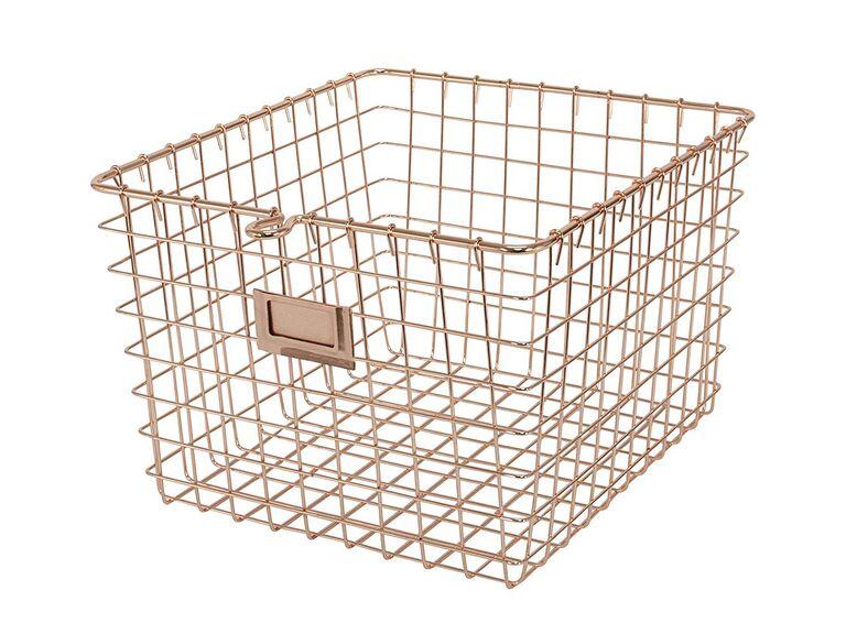 Metallic wire wedding bathroom basket