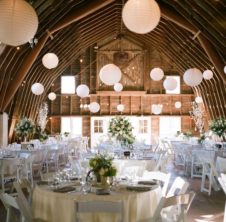 Blue Dress Barn Wedding Reception with Hanging