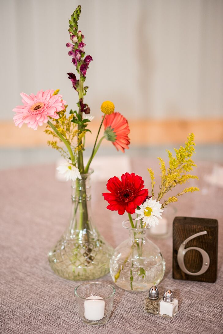 Wood and Metal Table Numbers with Fresh Picked Floral Centerpieces