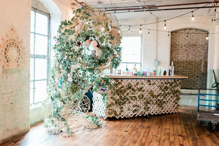 Vintage and Whimsical Bar with Leaves and String Lights