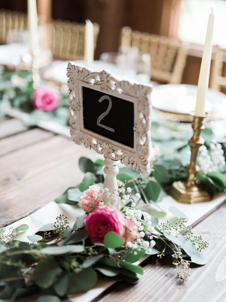 Vintage chalkboard sign wedding table number