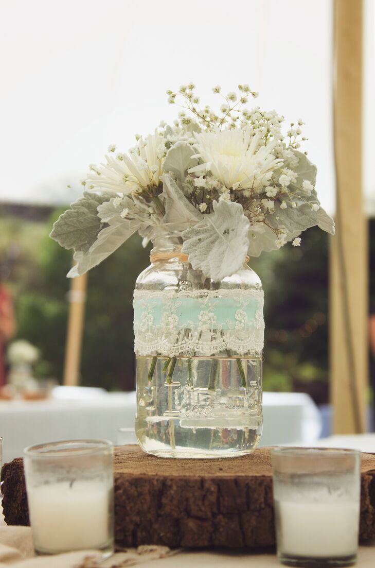Mason Jar, Lace Centerpieces
