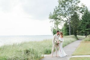Casual Waterfront Couple with Bohemian Dress and Tan Linen Suit