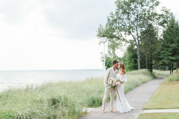 Even though they're San Diego natives, Maggie McKay and Evan Goebels wed at the bride's family cottage in East Tawas, Michigan. Their guest list had j