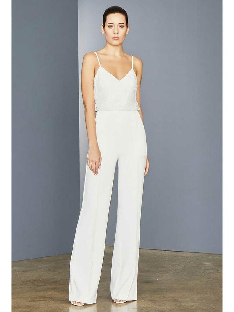 Beaded V-neck white jumpsuit