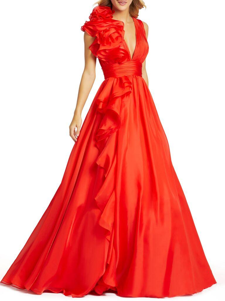Mac Duggal ruffle detail ruched chiffon ball gown