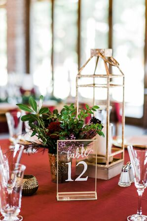Acrylic Table Number with Lantern Centerpiece