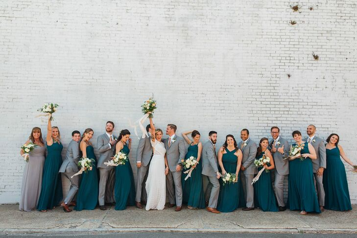 Wedding Party in Emerald Green and Grey
