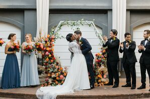 First Kiss During Ceremony at the Kimpton Brice Hotel in Savannah, Georgia