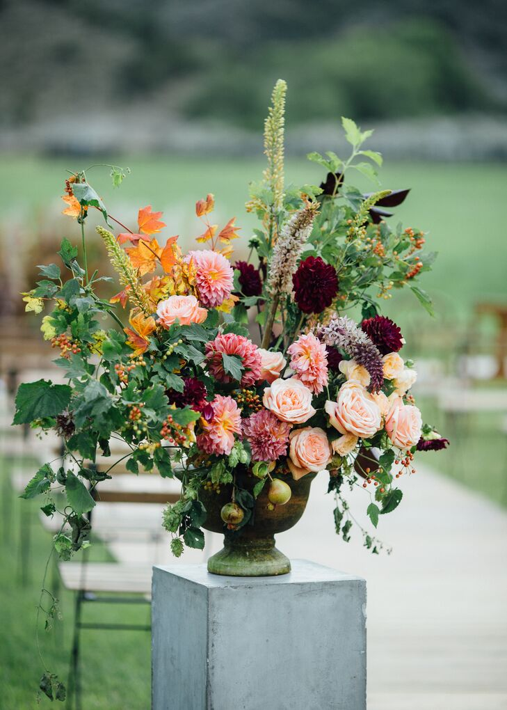 Organic Dahlia, Rose, Wildflower and Mixed Foliage Flower Arrangement
