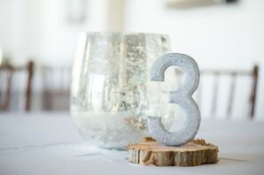 Silver Glitter Table Numbers with Wooden Base