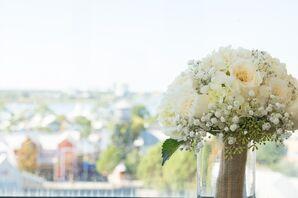 Burlap Wrapped Garden Rose and Hydrangea Bouquet