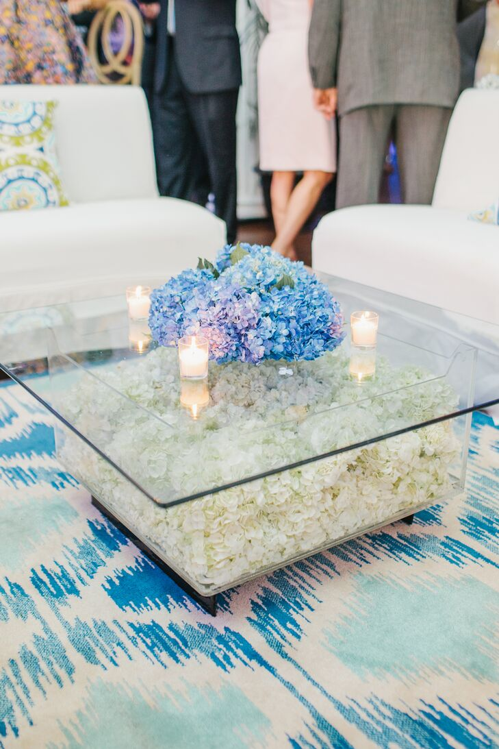 Modern Hydrangea Filled Glass Lounge Table