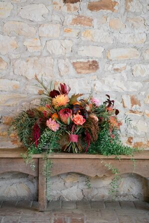 Rustic Protea, Red Amaranthus and Rose Bouquet with Cascading Greenery