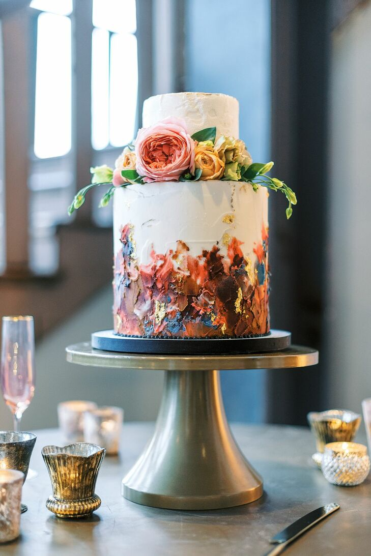 Hand-Painted Cake for Wedding at 701 Whaley in Columbia, South Carolina