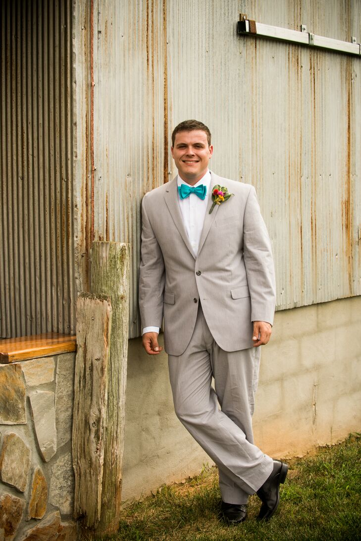 thoughts on popular stores wholesale Light Gray Suit with Teal Bow Tie