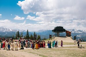 Guests in Traditional Indian Attire at Rocky Mountain Venue