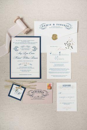 Elegant Vintage Script Wedding Invitations