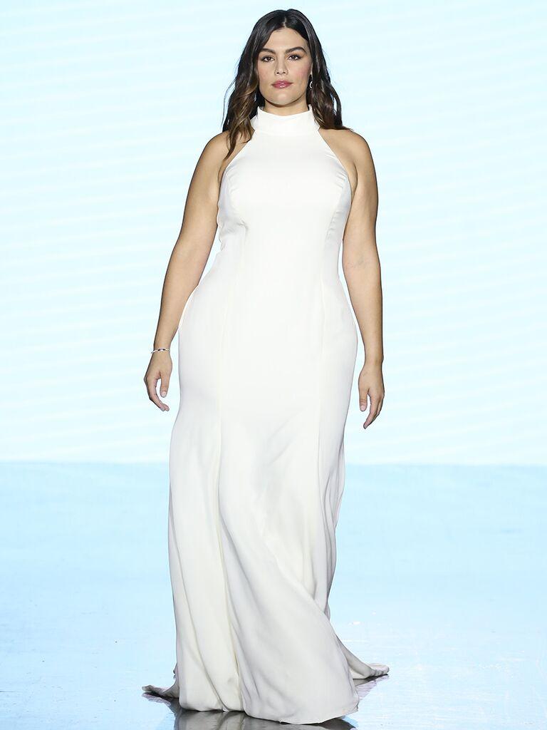Watters wedding dress trumpet gown hich neck