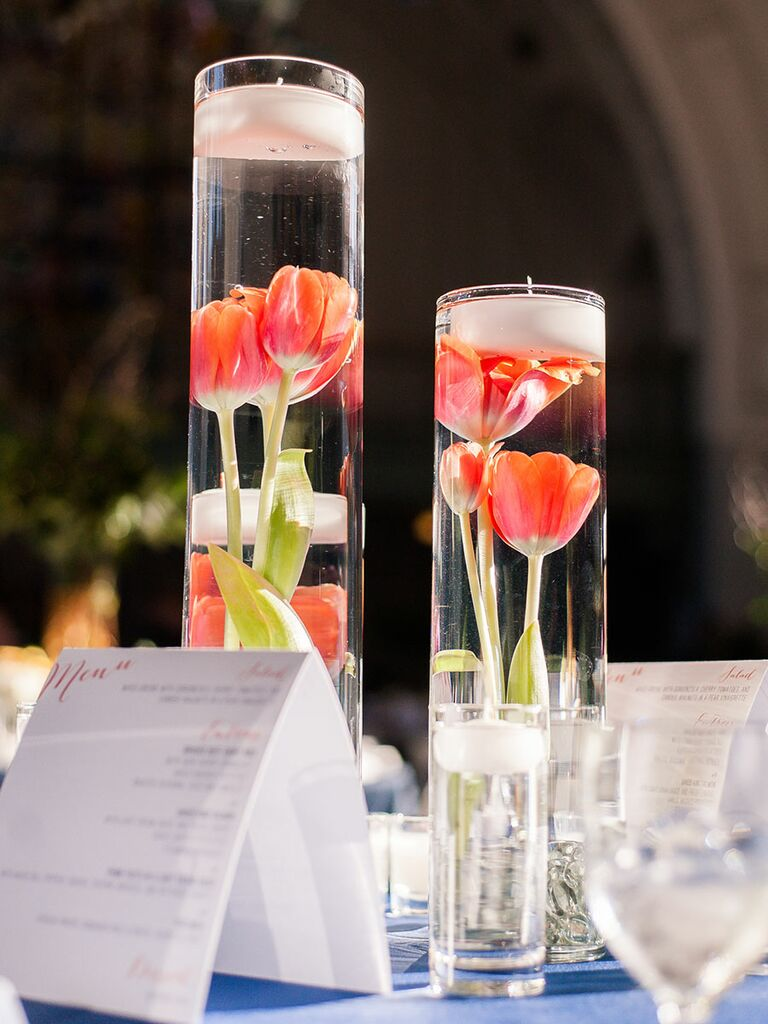 Simple wedding centerpieces with floating candles and tulips