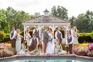 Pale Green and Gray Wedding Party