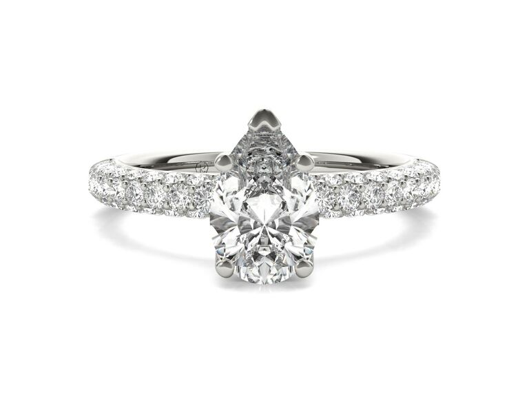 Ritani three row pave diamond engagement ring in 14K white gold