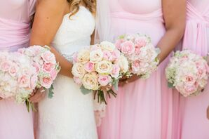 Classic Ivory and Blush Garden Rose Bouquet