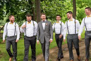 Groomsmen Suspenders and Yellow Bow Ties