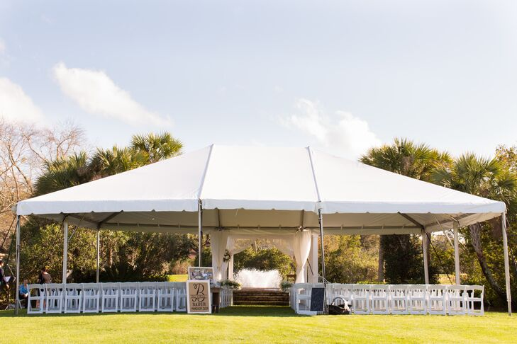 """We chose to get married at Sea Palms Resort because greenery was very important in my image of the wedding, as well as a private ceremony,"" says Amanda. ""The beautiful gazebo with the fountain in the background was a definite perk!"""