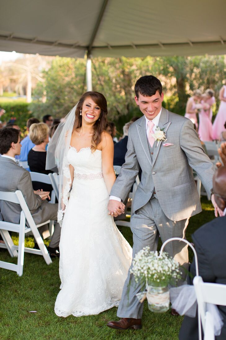 A pale pink and gray color palette set a romantic tone for Amanda and Chad's spring affair.