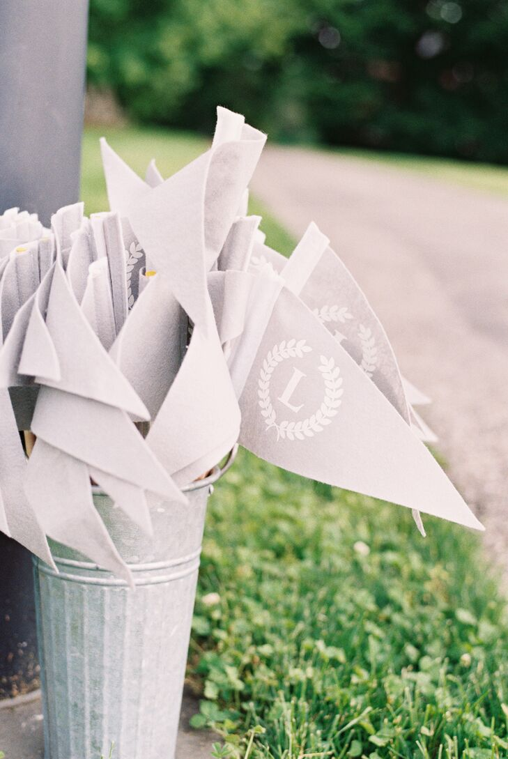 Pale Gray Monogrammed Pennants