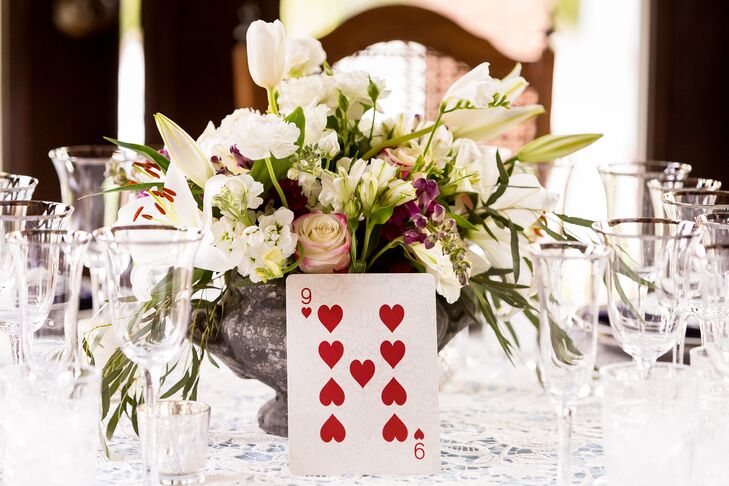 Each and every detail was chosen with purpose and the table numbers were no different. Kelly and Richard used oversized playing cards to number all of their reception tables, a nod to the Queen of Hearts and her army.