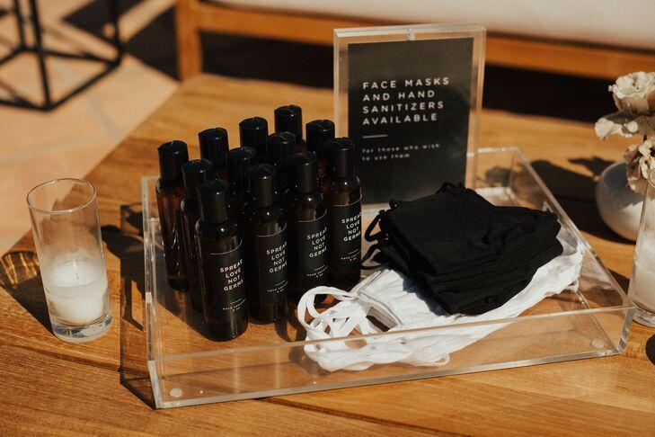 Hand Sanitizer and Masks for Wedding at Hotel Californian in Santa Barbara, California
