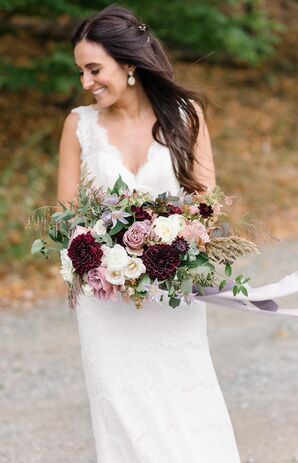 Bohemian Bouquet of Grains, Greenery, Burgundy Dahlias, Roses and Ranunculus