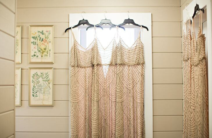"The bridesmaids wore taupe floor-length dresses with rose beading. ""We wanted to keep the overall theme of our wedding very classic looking,"" Sydney says. ""Classy, but interesting."""