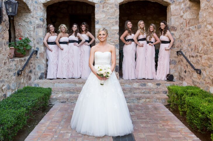 Ruffled Blush Bridesmaid Dresses With Black Sashes