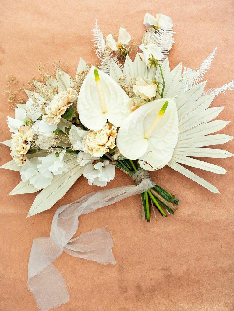 Boho dried monochrome white wedding bouquet