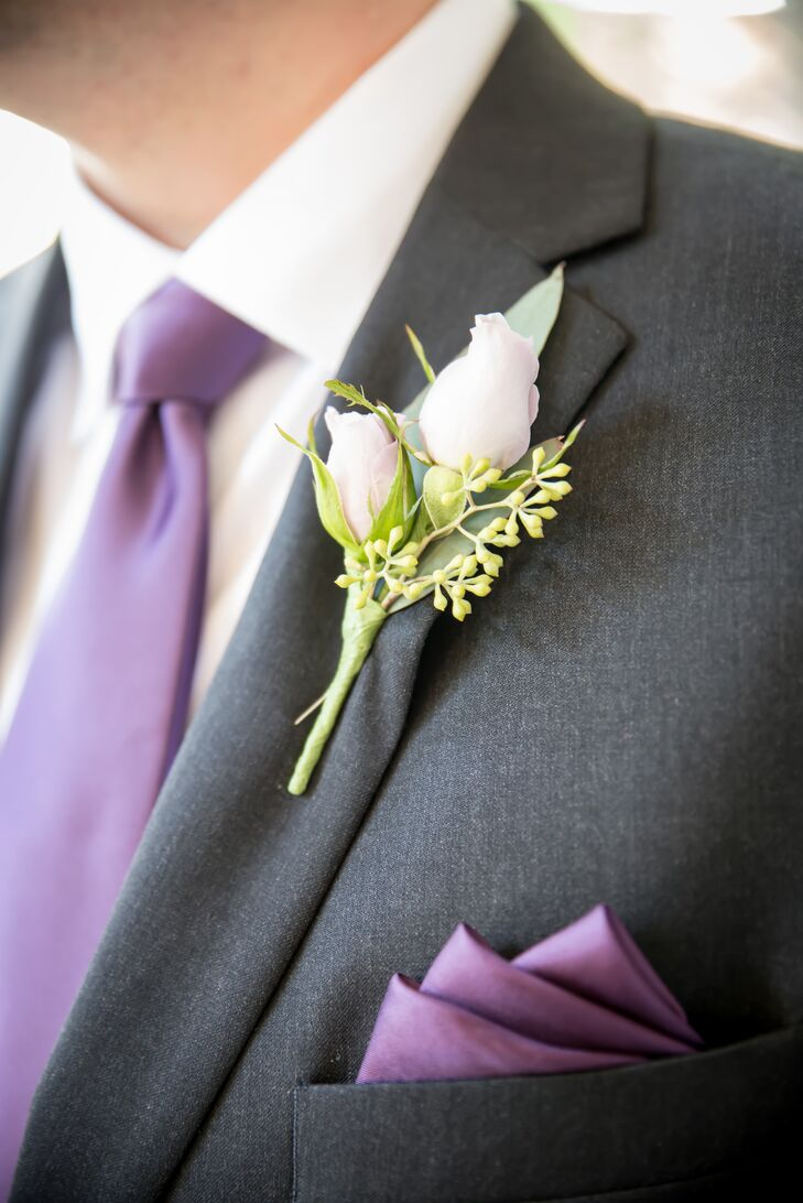 Rose Bud Boutonniere and Purple Tie