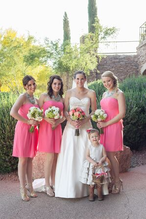 Coral and Sage Bridesmaids with Western Flower Girl