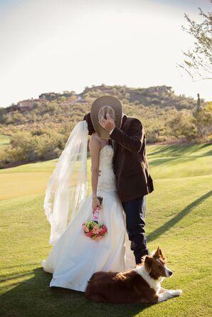 Bride and Groom with Dog at Arizona Wedding