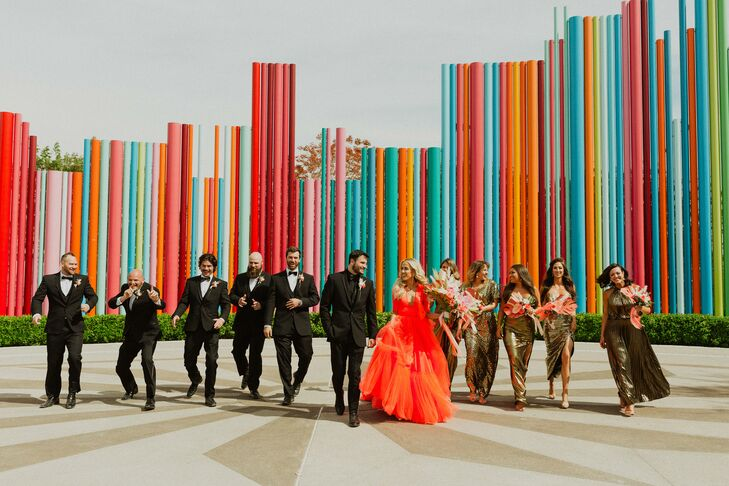 """For their colorful wedding, Erin May and Michael Bartlett chose a theme of """"Old Hollywood glam meets studio 54 in Vegas."""" The big day was inspired by"""