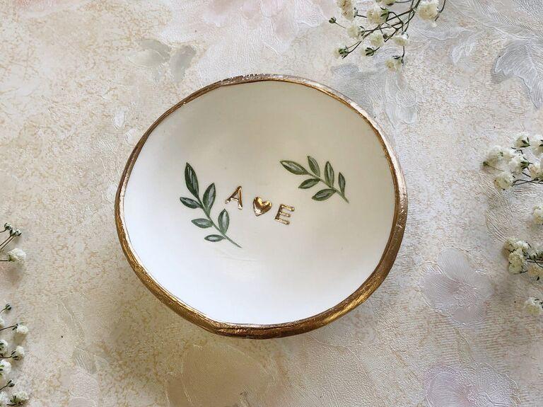 Custom ring dish wedding gift for bride