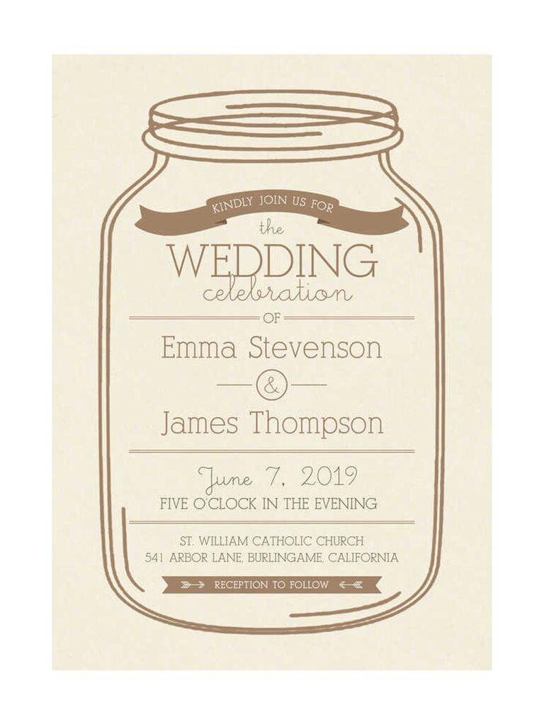 Mason jar rustic wedding invitation