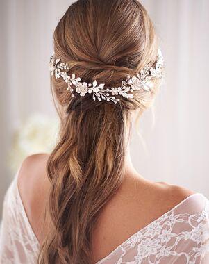 Dareth Colburn Della Floral & Pearl Hair Vine (TI-3383) Gold, Silver Headband