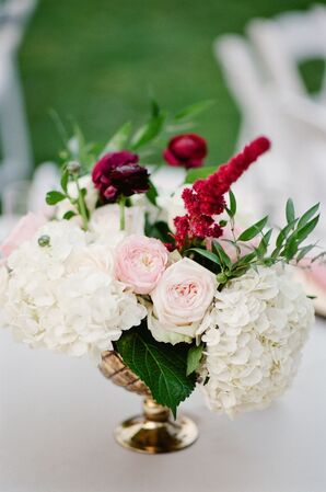 Glam Centerpiece with Ranunculus, Hydrangeas and Astilbe