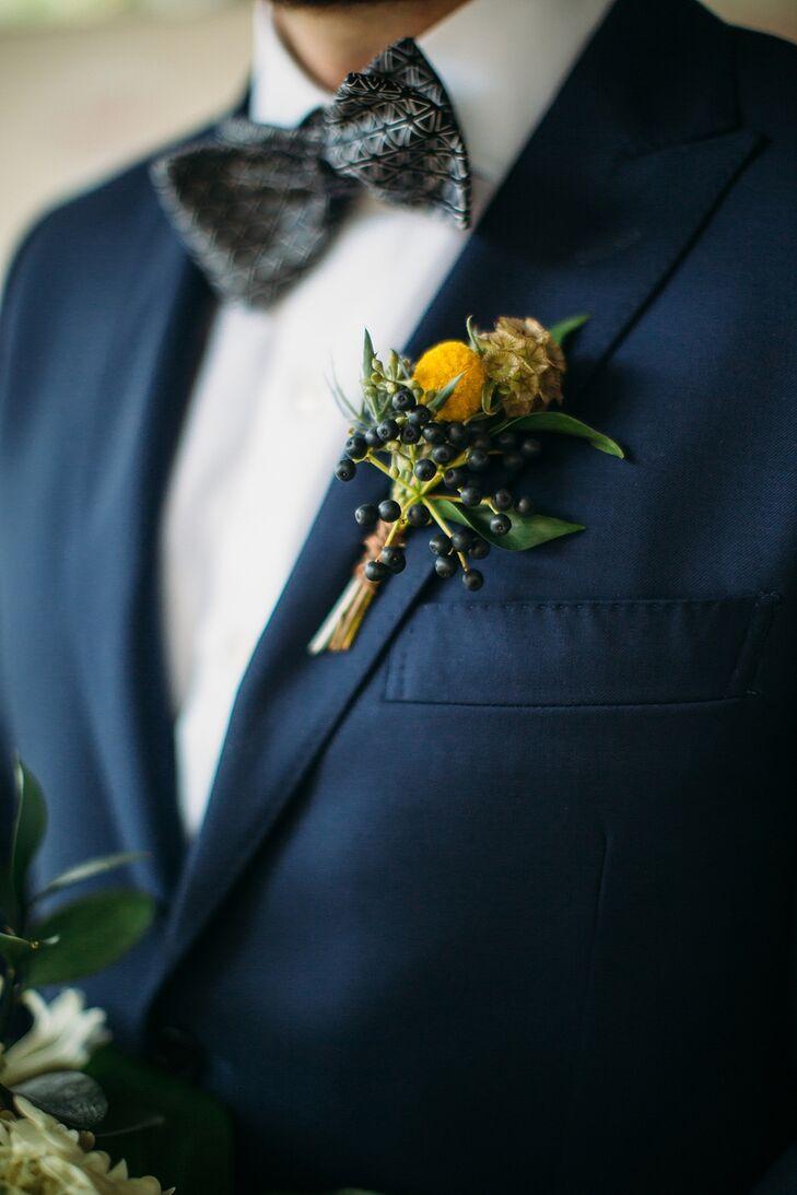 Yellow Boutonniere for Missouri Wedding