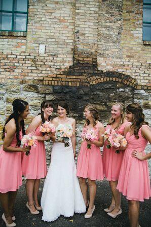 Pink Chiffon Bridesmaids Dresses